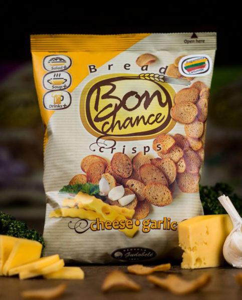 Chipsy chlebowe - ser - czosnek